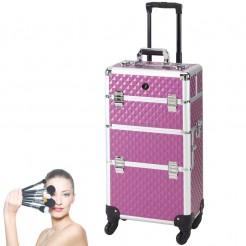 Kadeřnický kufr na kolečkách Check.In Creative fialový