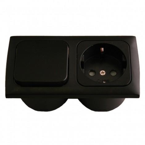 Zásuvka s vypínačem Haba 230V černá
