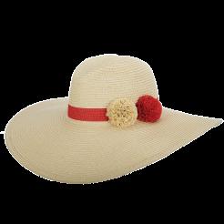 Dámský klobouk Cappelli Straworld Large Poms béžový