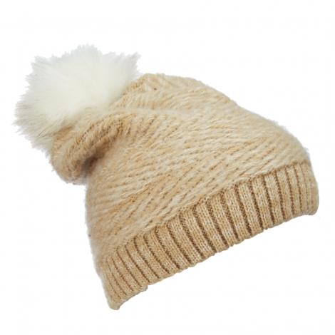 Dámská zimní čepice Scala Knit Faux Fur Pom s bambulí