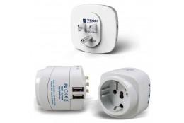 Cestovní adaptér s dvojitým USB Travel Blue Evropa - USA