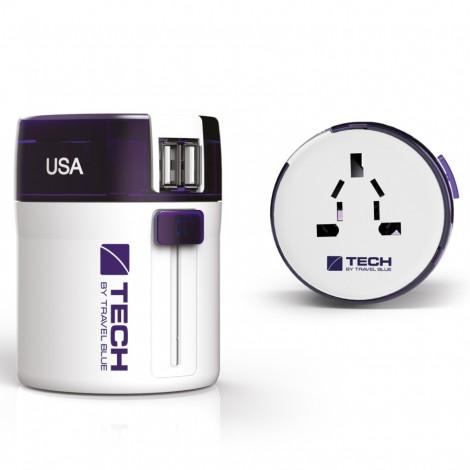 Cestovní adaptér s USB Travel Blue celosvětový - Evropa