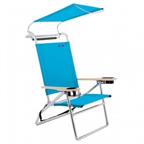 Plážové křeslo se střechou Copa Canopy světle modré