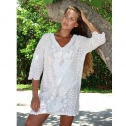 Dámská plážová tunika La Moda Embroidered bílá