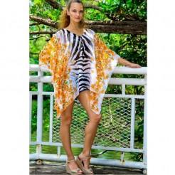 Dámská plážová tunika La Moda Zebra Top oranžová