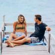 Plážová rychleschnoucí osuška Dock & Bay Cabana modrá L