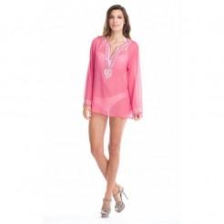 Dámská plážová šifonová tunika La Moda růžová