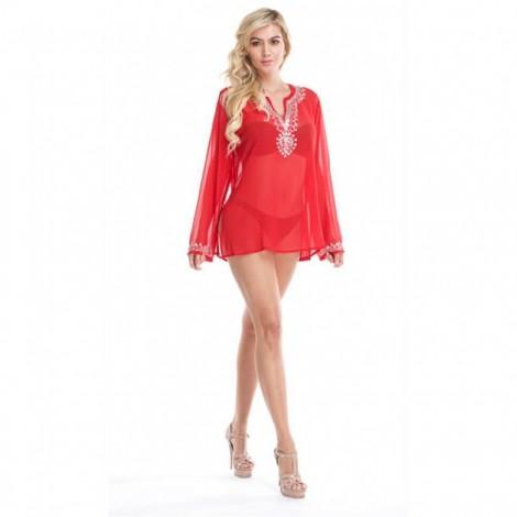 Dámská plážová šifonová tunika La Moda červená