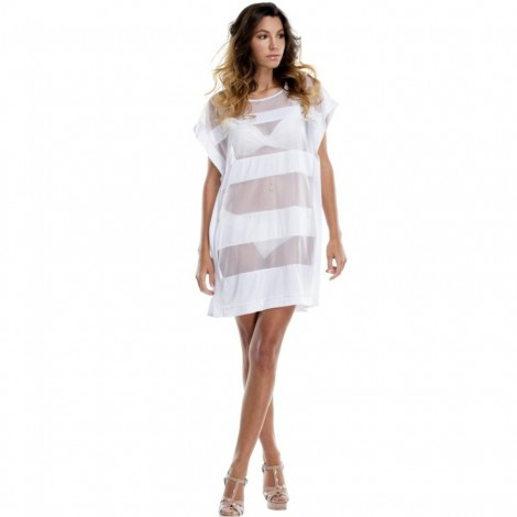 Dámská plážová tunika La Moda Mesh Cover bílá