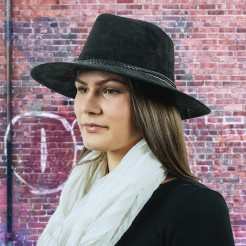 Dámský klobouk Scala Faux Suede Safari černý