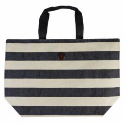 Plážová taška Cappelli Straworld Striped Tote černá
