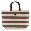 Plážová taška Cappelli Straworld Striped Tote hnědá