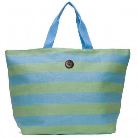 Plážová taška Cappelli Straworld Striped Tote světle modrá