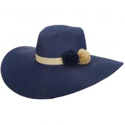 Dámský klobouk Cappelli Straworld Large Poms modrý