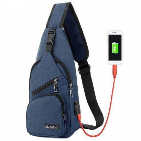 Cestovní batoh s USB portem Cross modrý přes rameno