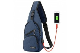 Cestovní batoh s USB portem Cross modrý