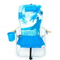 Plážové křeslo Copa Drink Holder modré palmy